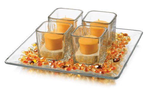 (Libbey 5-Piece Four Square Glass Candleholder Set, Clear)