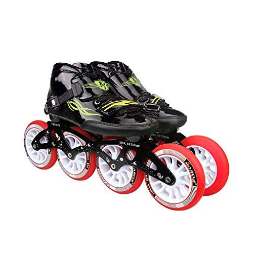 遷移落ち込んでいる報告書NUBAOgy インラインスケート、90-110ミリメートル直径の高弾性PUホイール、4色で利用可能な子供のための調整可能なインラインスケート (色 : Green, サイズ さいず : 36)