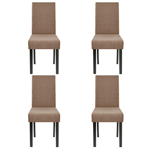 Homluxe High Stretch Chair Covers Dining Room Water Repellent Fabric Parson Chair Slipcovers (4, Brown)