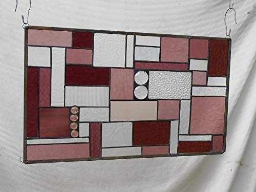 Geometric Stained Glass Panel Quilt Block Multicolors of Amethyst, Dusty Rose, Abstract Stained Glass Window Panel, Stained Glass Transom