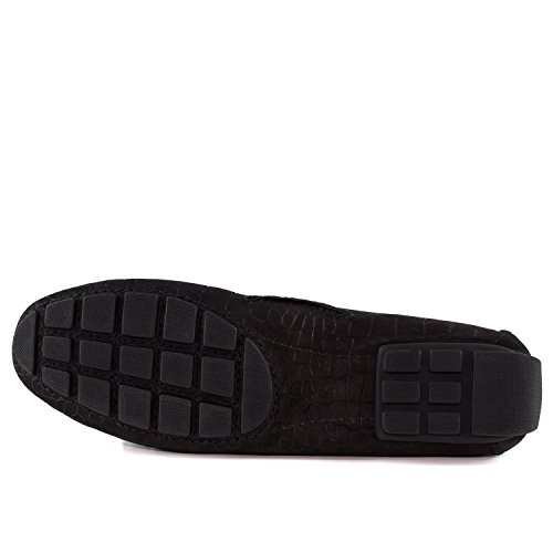 Marc Joseph New York Womens Genuine Leather Made In Brazil Casual Cypress Hill Driver Black Croc Nobuck KUaDadv