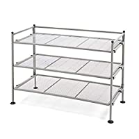 Seville Classics 3-Tier Iron Mesh Utility Shoe Rack, Satin Pewter (Certified Refurbished)