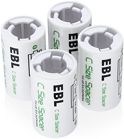 EBL C Size Battery Adapters, AA to C Size Battery Spacer Converter Case Use with Rechargeable AA Battery Cells - 4 Pack