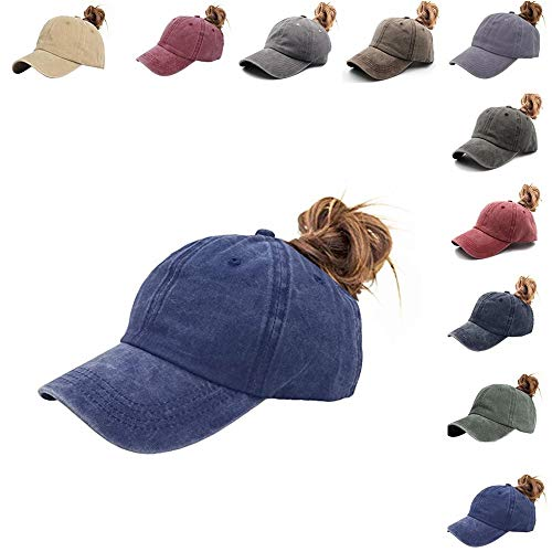 Bocianelli Ponytail Unconstructed Distressed Washed Dad Hat Messy High Bun Ponycaps Plain Baseball Cap (Jean Dark Blue)