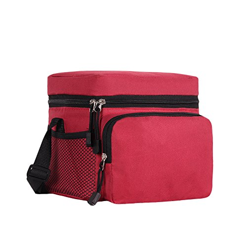 ORICSSON 4.9L Cooler Bag, Insulate Box Bag, Adjustable Strap and 2 Mesh Pockets,Red