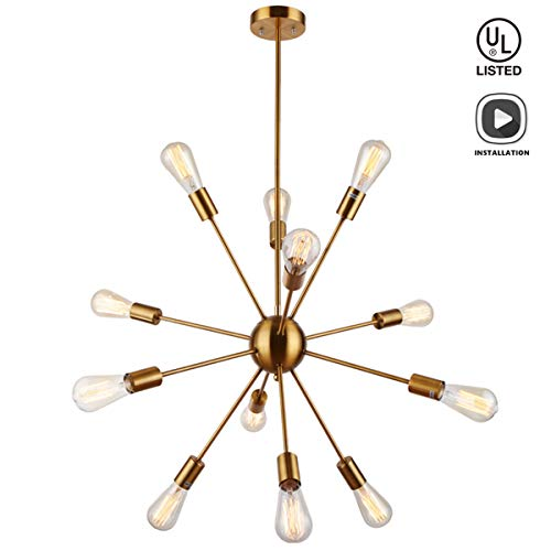 Sputnik Chandeliers 12 Lights Vintage Brass Pendant Lighting, UL Listed