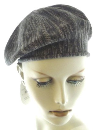 Variagated Grey Cotton Knit Beret by Lemon