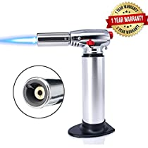 Blow Torch, Kitchen Butane Culinary Torch Chef Cooking Torch Refillable Adjustable Flame Lighter with Safety Lock for DIY, Creme, Brulee, BBQ and Baking, Butane Gas Not Included(Silver)