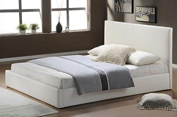 Modernes Lederbetten Bettgestell Leder Betten In Weiss 140x200