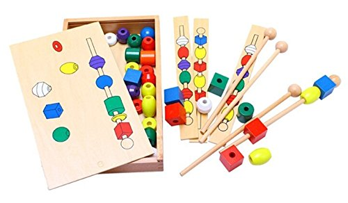 [Montessori Bead Sequencing Set Block Toys Classic Toy] (Animals That Start With The Letter A)