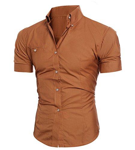 Uomo T shirt Fit Manica Allentata Slim Camicetta Traspirante Minetom Casual Elegante Corta Camicia Marrone Tops qfS4ndw
