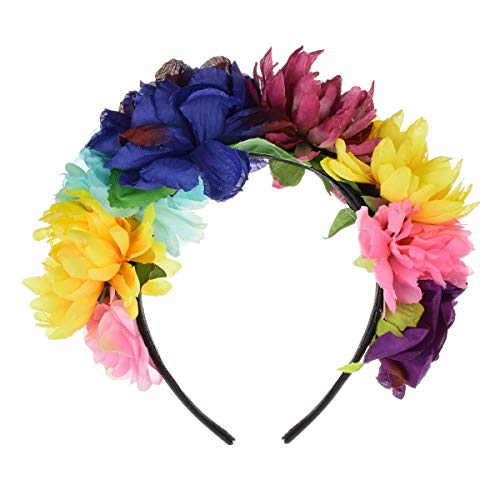 DreamLily Day of The Dead Headband Costume Rose Flower Crown Mexican Headpiece BC40 (A Frida kalo Crown)]()