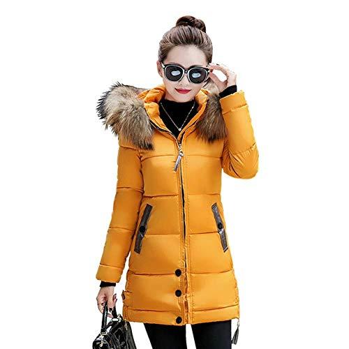 In Donne Grande Dotoo Delle Inverno Sottile Era Con Pelliccia Lungo Yellow Cappuccio Caldo Cotone Di Collo Spessore 5qFwFrxv