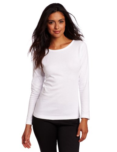Duofold Women's Mid Weight Wicking Thermal Shirt, White, Large