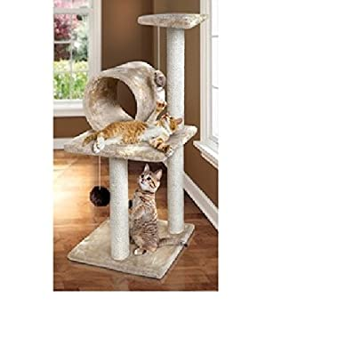 Cat Tree with Scratching Posts - Best Three Tier Condo for Your Cats to Nap and Play - Three Level Tower Has Hanging String Toys and Ample Room for Multiple Kittens or Cats to Perch - Woven Rope Pet Accessories Inspire Scratching