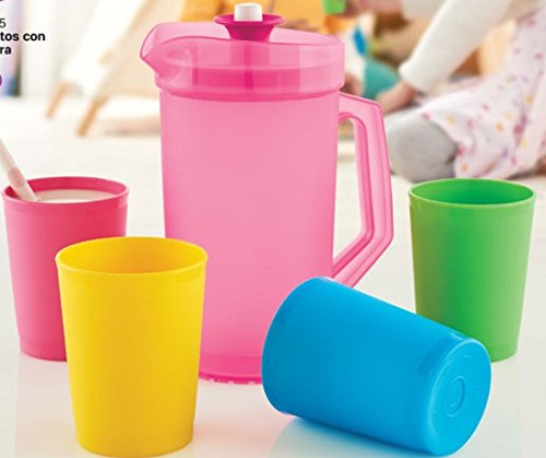 Tupperware Mini Serve It Pitcher and Tumblers Set, Tropical Colors