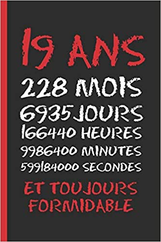 19 Ans Et Toujours Formidable Cahier 6 X 9 120 Pages