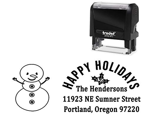 Self-Inking Rubber Stamp, Happy Holidays. with Snowman Image - Large 4 Line DIY Stamper, Change All Wording. Select Different Ink - Snowman Color Change