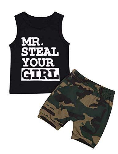 Baorong Summer 2 Piece Sets Baby Boy Sleeveless Tank Tops T-Shirt Camouflage Pants Casual Infant Clothes Outfits 3-6 Months