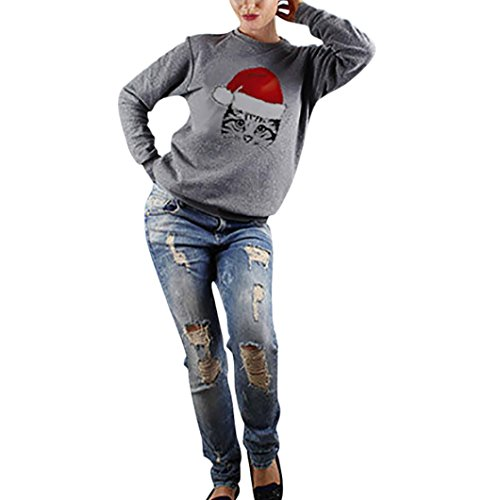 Cheap Stuff For Women Liraly Casual Long Sleeve Christmas Cat Print O Neck Sweatshirt Tops Blouse (XXL, Gray)