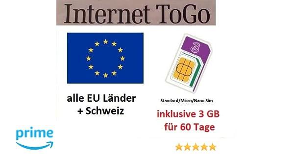 Prepaid datos tarjeta SIM (Internet móvil) para Italia, España, Francia, Austria, Suiza, Suecia, Dinamarca, Noruega, Finlandia, Reino Unido e Irlanda ...