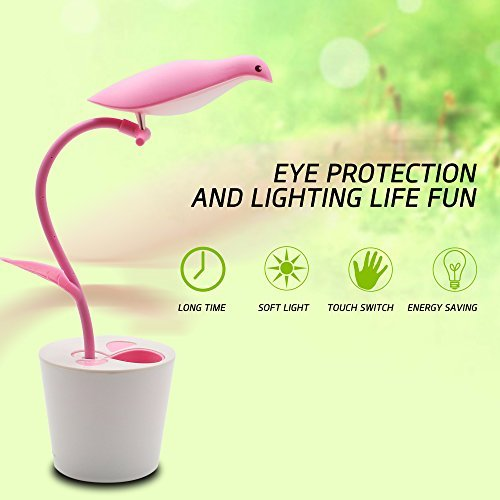 LED Desk Lamp with Rechargeable USB Cable,3-Levels Dimmer Touch Sensitive Control,Flexible Neck LED Night Light Table Lamp,Cute Bird Pen Container Lamp for Chirdren