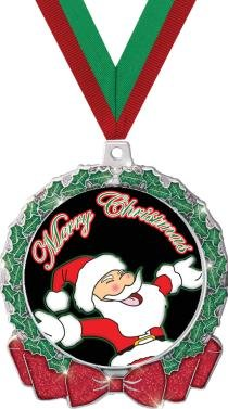 CHRISTMAS MEDALS - 2.75'' Glitter Wreath Santa Claus Medal 50 Pack by Crown Awards