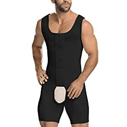 Mass21 Mens Girdle Fajas Colombianas Para Hombres High Compression Garment Shapewear Body Shaper Boxer Bodysuit Black Xl