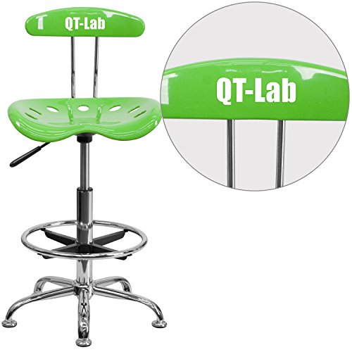 "Personalized Vibrant Apple And Drafting Stool With Tractor Seat Green/Chrome/20""L x 17.25""W x 41""H"