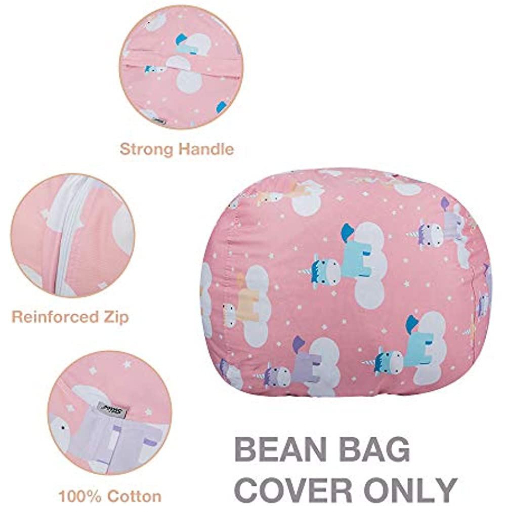 Enjoyable Details About Kids Stuffed Animal Storage Bean Bag With Carrying Handle Sturdy Cotton Cover Gamerscity Chair Design For Home Gamerscityorg