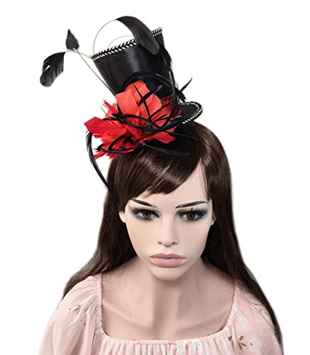 YSJOY Veil Satin Belt Feather Fascinator Kentucky Derby Races Top Hat Magic Hat Tea Party Cosplay Victorian Decorative Top Hat Hair Clip Costume Accessory for Women Lady -