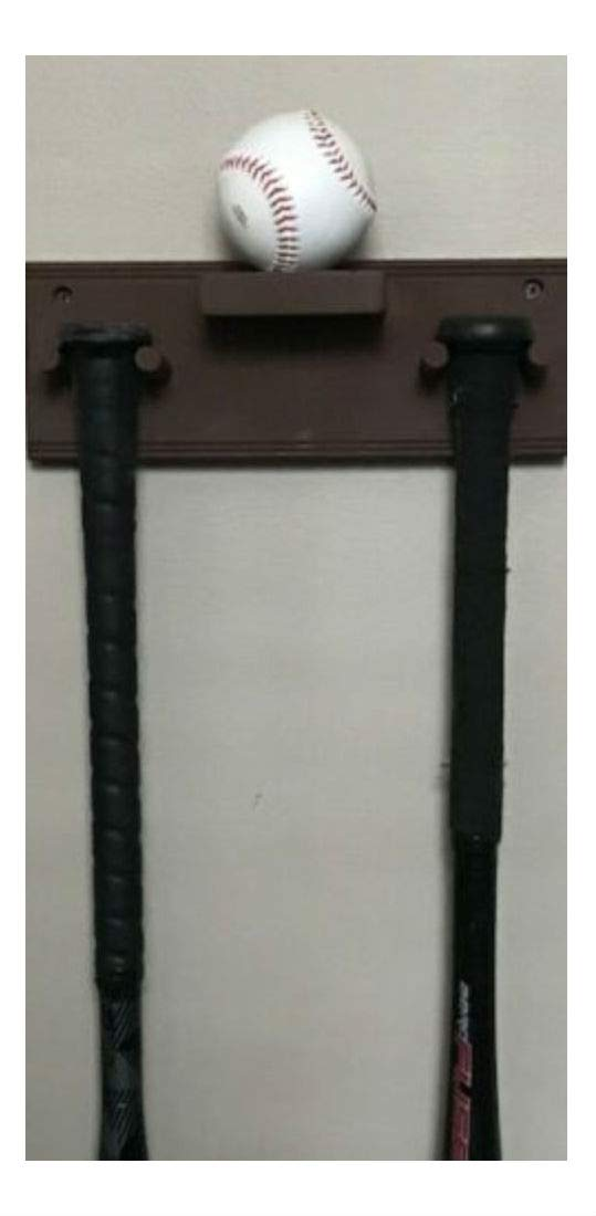 Baseball Bat Rack Display Holder Wall Mount Full Size 2 Bats 1 Ball Brown by Unknown