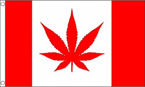 5ft x 3ft (150 x 90 cm) Canada Canadian Marijuana Leaf 100% Polyester Material Flag Banner Ideal For Pub Club Festival Party Decoration UKFlagShop