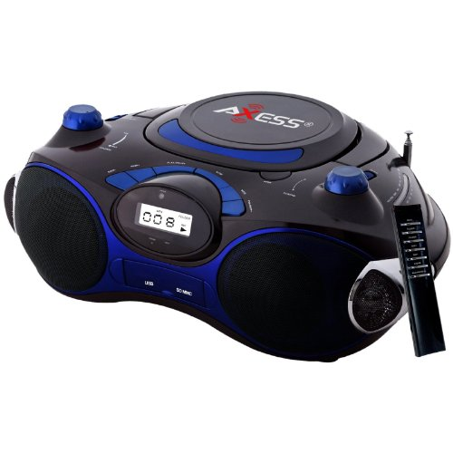 Axess Blue Portable Boombox MP3/CD Player with Text Display