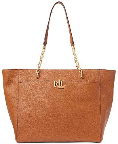 Lauren Ralph Lauren Langdon Pebbled Leather Tote (Tan)