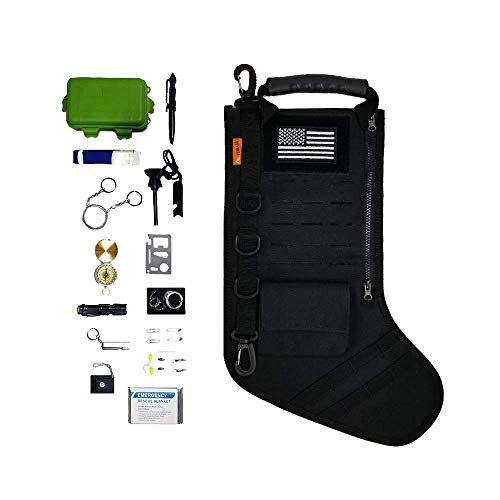 gearrific Tactical Christmas Stocking Pre-Filled with Gifts for Him, Soldiers, Military or Survivalists (28-Piece Set (Black)) ()