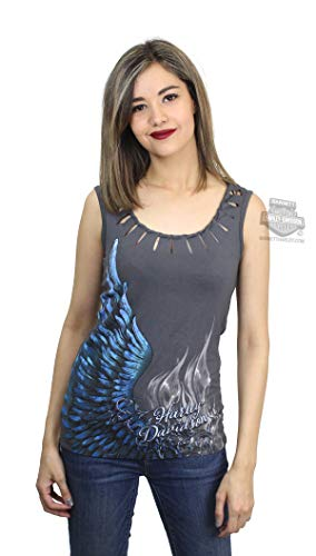 Harley Davidson Wings - Harley-Davidson Womens Chemistry Wing with Flames Laser Cut Detail Charcoal Sleeveless Tank (X-Small)