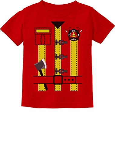 Fireman Uniform Firefighter Halloween Costume Toddler Kids T-Shirt