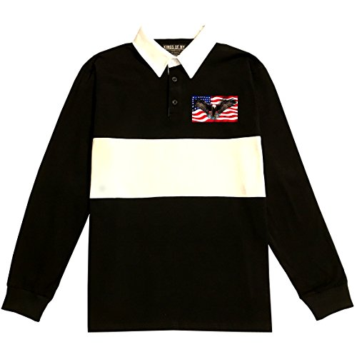 Bald Eagle American Flag Long Sleeve Polo Rugby Shirt X-Large Black Eagle Long Sleeve Polo