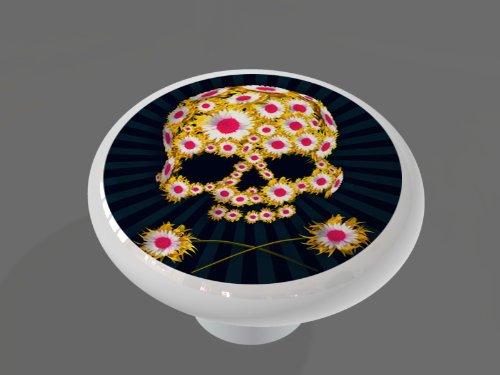 Day of the Dead Flower Skull High Gloss Ceramic Drawer Knob