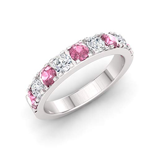 Diamondere Natural and Certified Pink Tourmaline and Diamond Wedding Ring in 10K White Gold | 0.92 Carat Half Eternity Stackable Band for Women, US Size 4