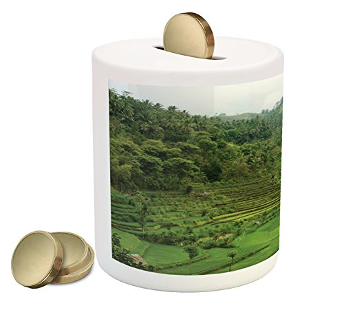 Cheap  Ambesonne Balinese Piggy Bank by, Terraced Rice Paddies in Hillside Tropical Valley..