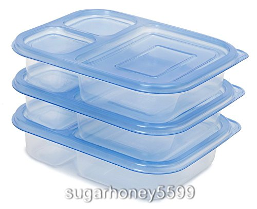3 PCs Meal Box Food with 3 Compartment Containers Plastic Reusable Microwave Storage Organize Box