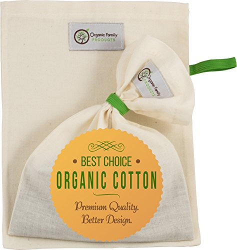 Organic Cotton Cold Brew Coffee Bags (2 Pack) - Super Fine Filter & Smart Drawstring Free Design for No Grounds or Silt - Safe to Boil Teas or Wort - Food Strainer for Nut Milks, Yogurt, Juice & More