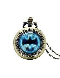 Batman Symbol Pocket Watch, Super Hero Theme Pocket Watches, Kids Gifts Watches