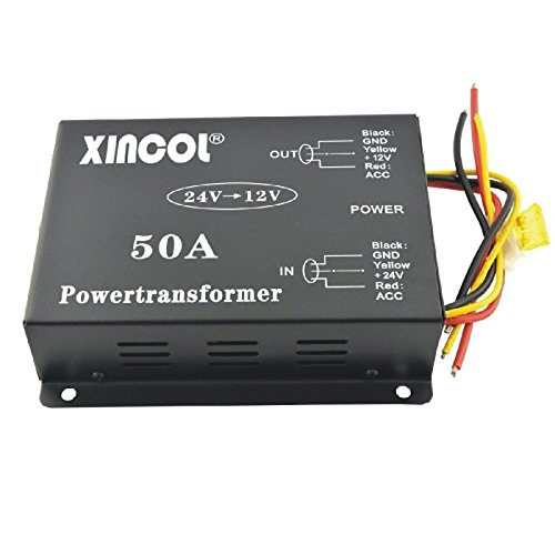 UXOXAS Vehicle Car DC 24V to 12V 50A Power Supply Transformer Converter with Dual Fan Regulation-Black by UXOXAS
