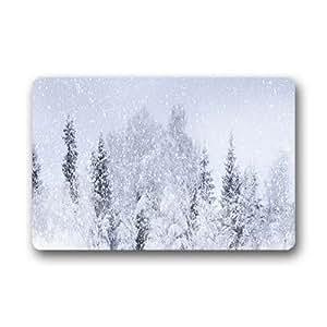 """Sonriente You texto personalizado invierno Nieve antideslizante se puede lavar a máquina. Felpudo entrada 18""""x 30"""""""