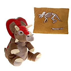 "Fiesta Toys Peek-a-Boo Plush Pillow 2 in 1-13"" Triceratops Animals"