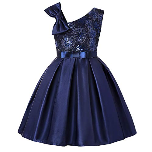 (M-Sea Flower Girls Party Dresses Kids Birthday Wedding Formal Pageant Gown Dress Purple)
