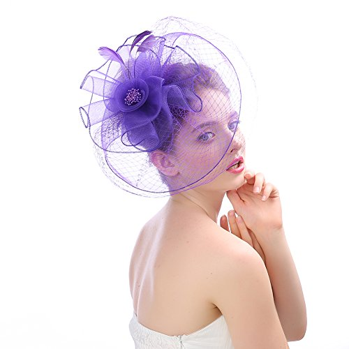 Fankeshi Women's Cocktail Sinamay Fascinator Hat Flower and Veil Hair Clip Hat Silver by Fankeshi (Image #3)